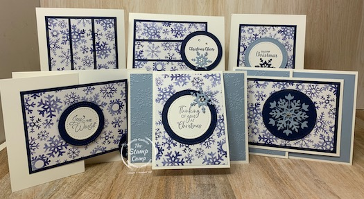 The Stampin' Up! Snowflake Splendor Designer Series Paper with the Stampin' Up! Snowflake Wishes Bundle are the perfect combinations to use for this One Sheet Wonder technique. #thestampcamp #stampinup #onesheetwonder #christmas