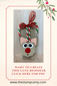 It's Make It Monday and today's project is this super cute Reindeer Treat Holder created with Stampin' Up! punches, circles and ornament punches and the Scallop Tag Topper Punch. You can either hang these on your tree or place them on your Christmas Gifts. #thestampcamp #glendasblog #stampinup