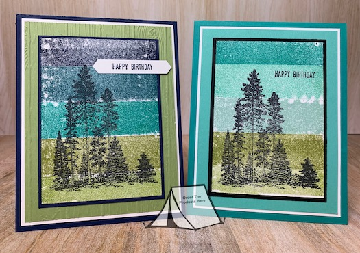 Have you ever tried the Painters Tape Technique for creating a scenic background? This was the first time I gave it a try and I really like how they turned out. After creating my background I pulled out my Campology stamp set and stamped that over the top. Pretty Cool technique! #stampinup #thestampcamp #technique