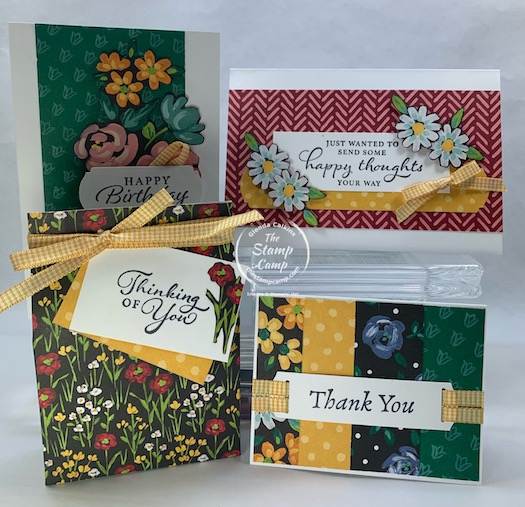 With this FREE pack of Flower & Field Designer Series Paper you can create these fun projects; with minimal supplies. With a min. $50.00 (before shipping and tax) order you can choose the Flower & Field Designer Series Paper for FREE #155223. Order these supplies and get the paper for free: Happy Thoughts Stamp Set, Basic White Assorted Memories & More Cards and Envelopes, Bumblebee Gingham Ribbon, Label Me Fancy punch and the Memento Black ink pad. #thestampcamp #stampinup #saleabration