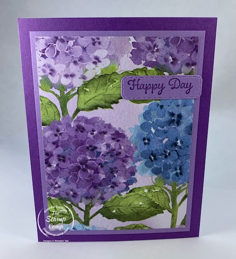 Hydrangea Hill Designer Series Paper is the perfect paper pack to use for this fun Accordion Fold card. You get to use the beauty of the paper prints with minimal stamping for a quick and easy different fun fold card. #thestampcamp #stampinup #hydrangeahill #funfoldcard