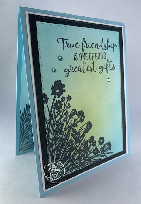 The FREE Sale-a-bration Corner Bouquet stamp set from Stampin' Up! is a staple in my stamping stash! You can do so many different techniques with this solid image stamp set and using the Stampin' up! Blending Brushes is a favorite technique of mine. #thestampcamp #stampinup #cornerbouquet #saleabration