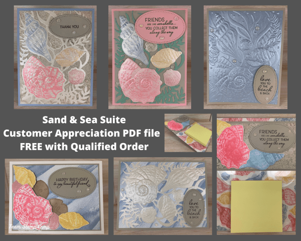 The Sand & Sea Product Suite from Stampin' Up! is my featured bundle of products for my Customer Appreciation PDF file for March. You are going to LOVE working with the products in this suite as they all coordinate beautifully together and you will be amazed at all the different technique you can do. #thestampcamp #stampinup #sandandsea