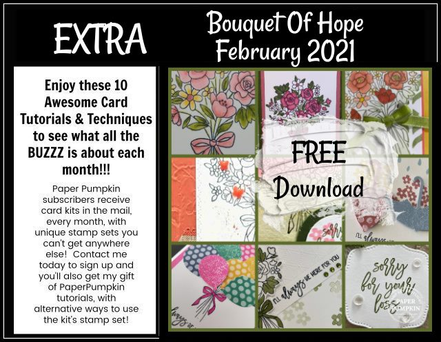 Are you a Paper Pumpkin Subscriber? Would you like a crafting kit delivered right to your door each and every month? Check out this FREE PDF file featuring the Bouquet of Hope February Paper Pumpkin Kit. This is a sample of what my subscribers receive from me each and every month. #thestampcamp #paperpumpkin #stampinup