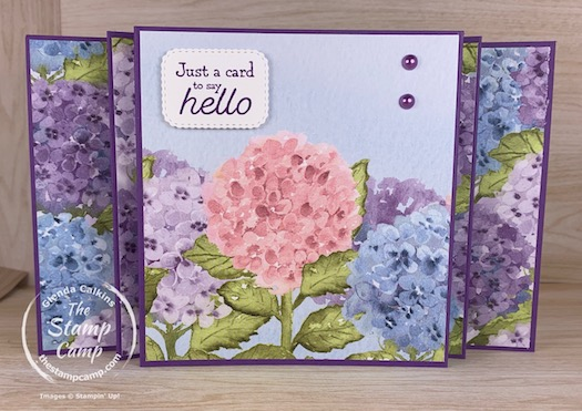 """Fun Fold Friday - Today's fun fold card is what I like to call a Scenic Panel Accordion fun fold card. This fun fold works best with a 12"""" piece of designer paper as I like to spread out the scene across the front of the card. On this card I did use 2 different prints from the Hydrangea Hill Designer Series Paper but I did think the scene still flowed throughout the card. #thestampcamp #stampinup #funfold"""