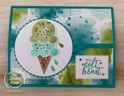 The Ice Cream Corner Designer Series Papers from Stampin' Up! have got me wanting Summer to come NOW! This pack of printed papers is beautiful with it's bright color combinations and the ice cream and popsicle images are making me hungry for summer. #thestampcamp #stampinup #funfold