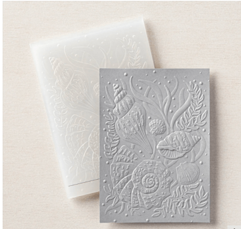 Seashells 3D Embossing Folder from Stampin' Up! gorgeous backgrounds for your cards or even add to scrapbook pages. #thestampcamp #glendasblog #stampinup
