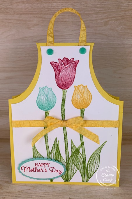 Today for Make It Monday I'll show you How to Create this super cute Apron Card/Gift Card Holder for Mother's Day or change the sentiment and use it for Birthday's or change it up and you have a great Father's Day gift card holder for dad. #thestampcamp #stampinup #giftcardholder