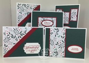 One 6 x 6 Piece of Tidings of Christmas DSP = Five Cards