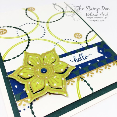 Close Up of Lemon-Lime Twist Flower with Eastern Gold Vinyl Sticker Overlay