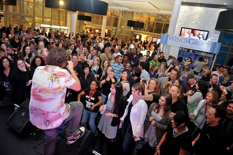 Well-known rap artist Jack Parow singing to a pumped crowd!