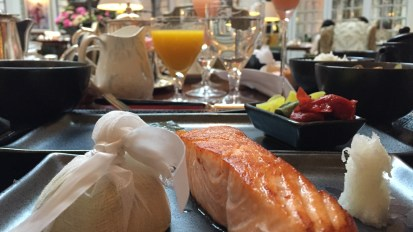Grilled salmon for breakfast in London