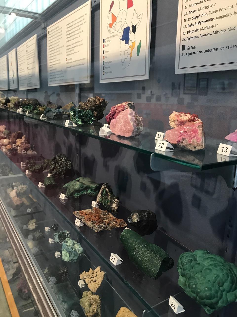 A display of minerals