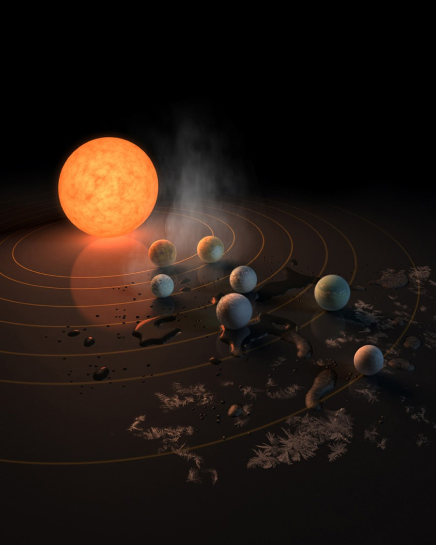 Concept art for TRAPPIST-1 and its seven Earth-sized exoplanets.