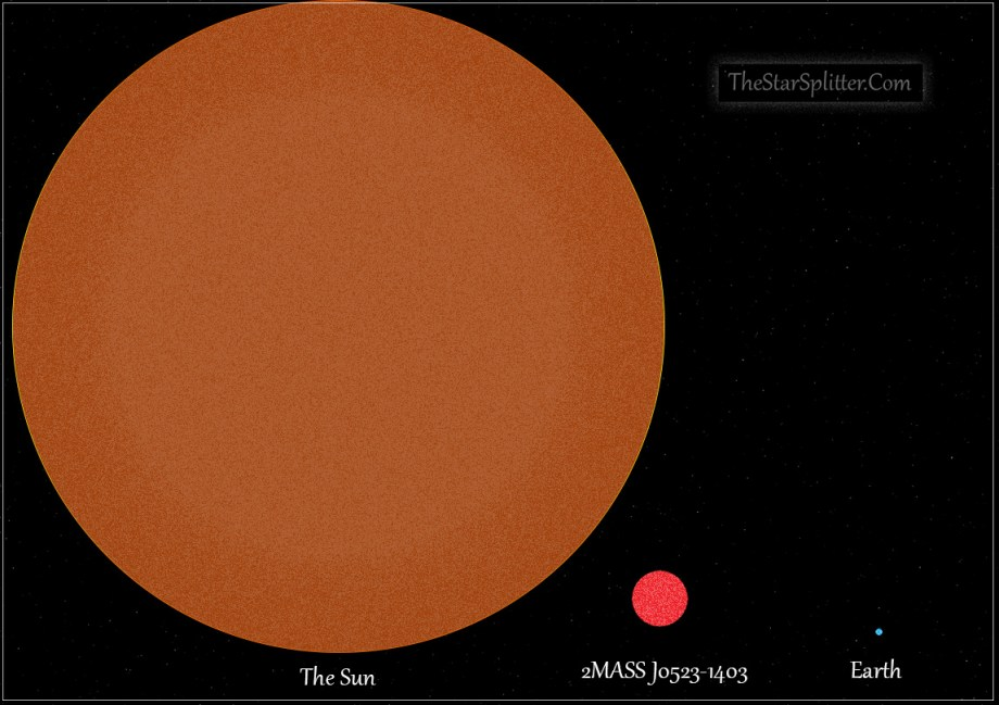 Comparison graphic between the Sun, 2MASS J0523-1403, and Earth.