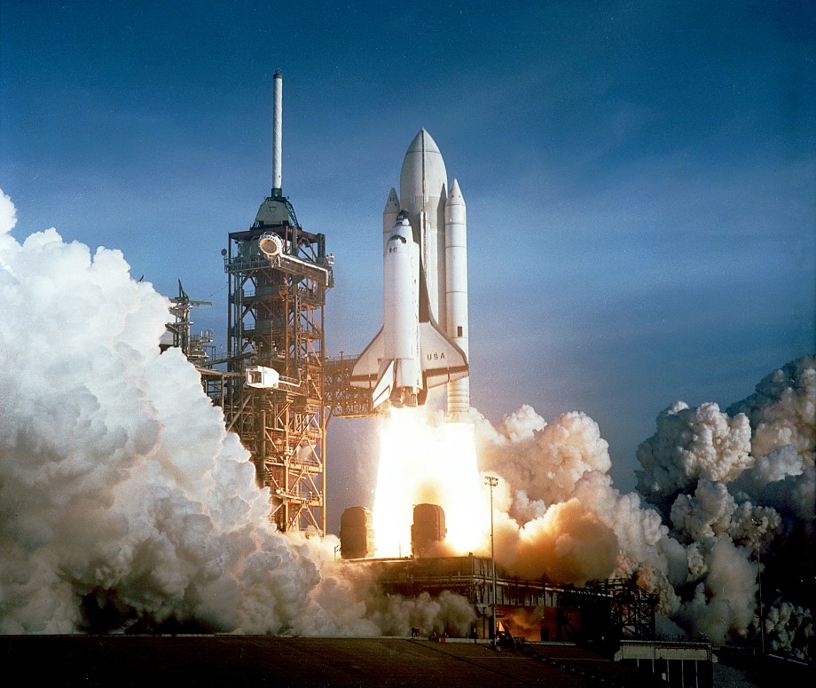 STS-1 Columbia at launch on April 12, 1981