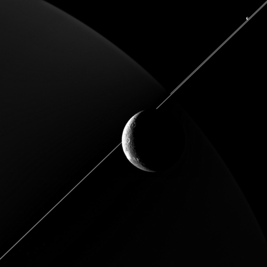 Dione, Saturn, Rings, and Enceladus