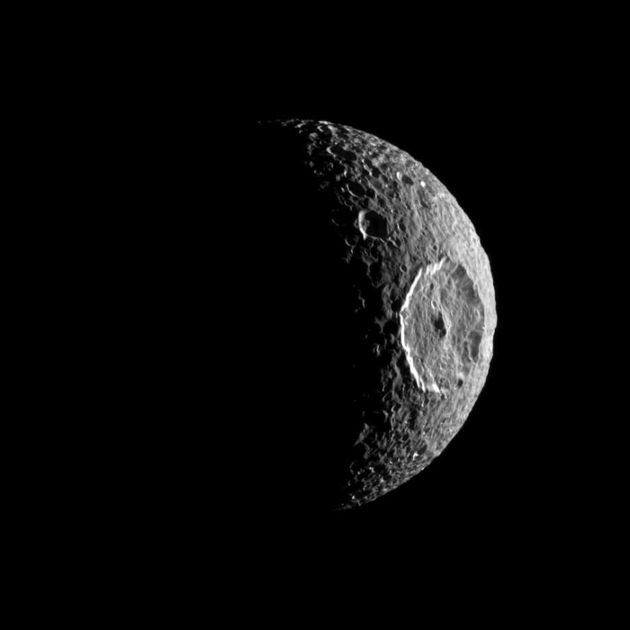 Mimas, with prominent Herschel crater.