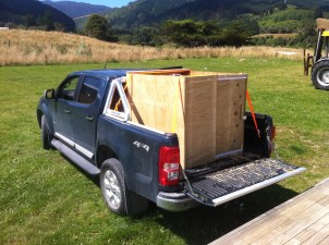 My homemade stock crate on the back of the Colorado (pallets and plywood)