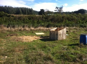 The chicken houses lost their roofs and were tossed from the pallets they sit on.