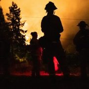 California's firefighters had brief respite from tackling 650 different blazes on Tuesday as cooler weather moved in, helping quell some of the worst wildfires in the state's history. Santa Rosa firefighters Cori Rickert, James Bone and AJ Alcocer monitor the LNU Lightning Complex Fire in Healdsburg, California on Tuesday