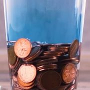Soak a large collection of pennies in water will release a blue substance into the water and create a blue dye