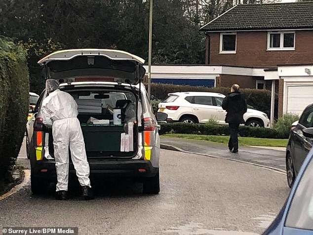 Tarver had previously told police he was putting his frail mother 'out of her misery' when he stabbed her. Pictured: A forensic officer at the scene