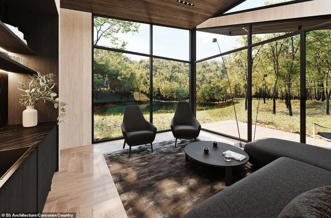 INSIDE A GUEST 'POD': This artist's impression shows the same ceiling-to-floor windows as in the main residence and a similar wood panelling design, seen here with a sofa and two armchairs in a living area