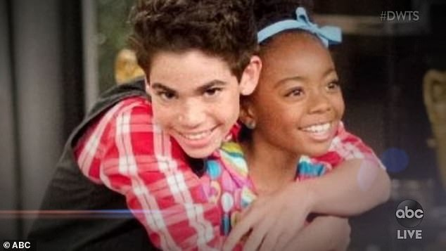 Late friend:Disney star Skai Jackson, 18, and her partner Alan Bersten, 26, topped the leaderboard with 28 points after doing a flawless foxtrot to John Legend's Ordinary People, dedicated to Skai's late costar Cameron Boyce