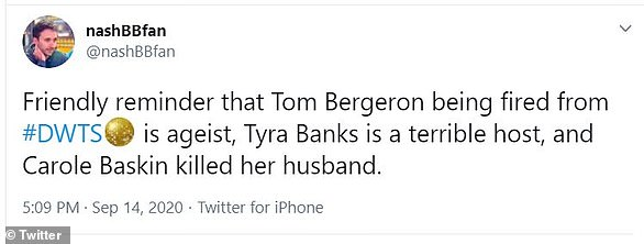 They went there:One fan went as far as to label Tom's dismissal from Dancing With The Stars as ageist, being that he is 65 and Tyra is 46
