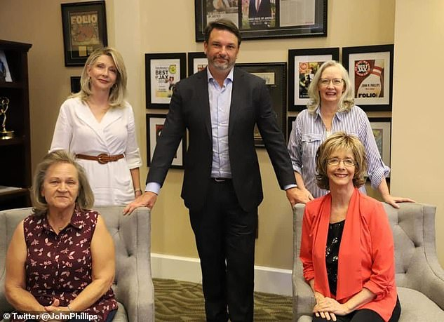 Judge Sexton also revealed that the family of Jack Donald Lewis (pictured) tried to paint Baskin in a 'bad light', hinting that she was a prostitute when she and Lewis met. The family is pictured with Attorney John M. Phillips