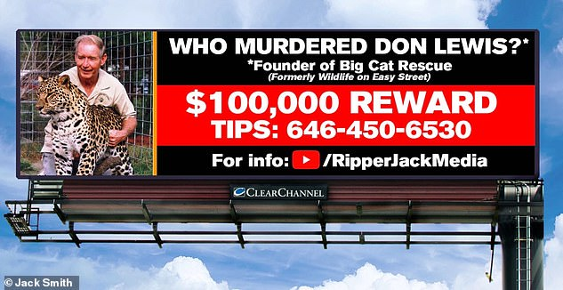Four billboards seeking $100,000 reward for information leading to answers in the death of Don Lewis went up in Tampa, Florida, on August 8