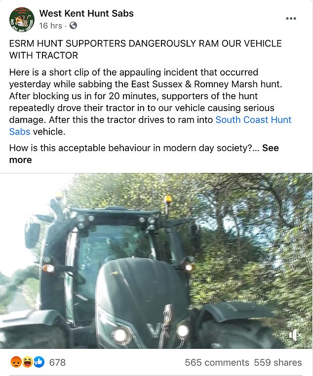 West Kent Hunt Sabs posted the video to Facebook on Sunday saying: 'ESRM Hunt Supporters dangerously ram our vehicle with a tractor'