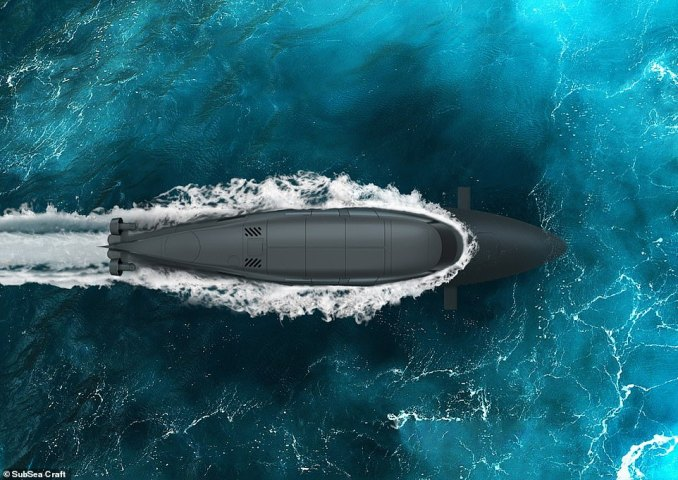 Bird's eye view ofVICTA.Dropped from a helicopter, the sleek carbon-fibre speedboat races along the water at 40 knots before turning into a submarine