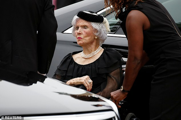 Roberta McCain arrives for the memorial service of her son U.S. Senator John McCain (R-AZ) at National Cathedral in Washington, U.S., September 1, 2018