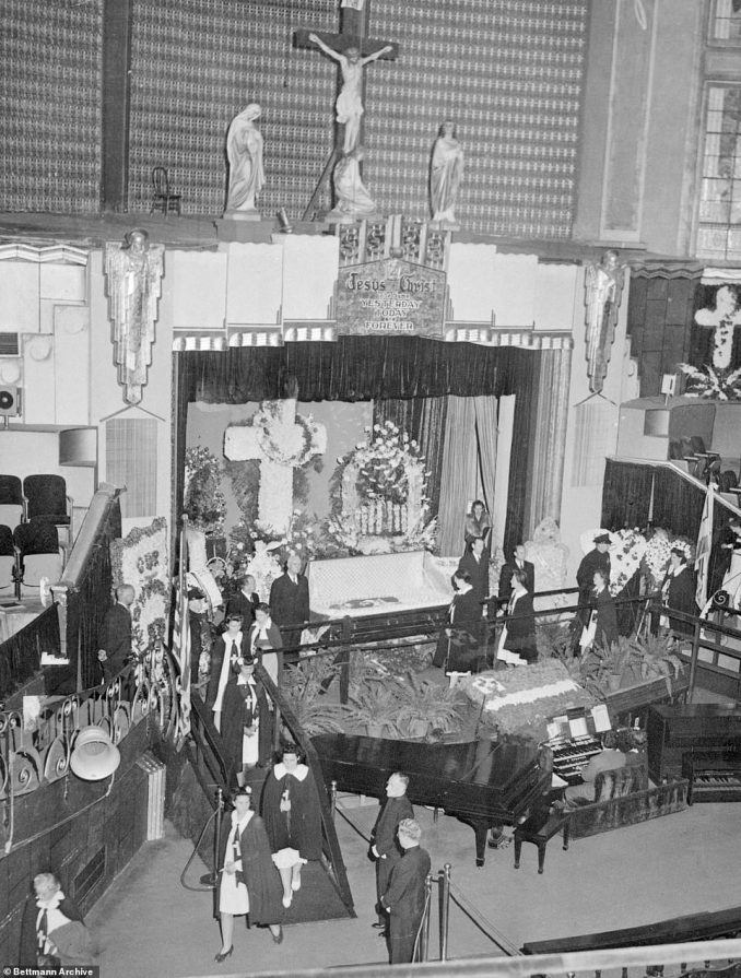 On September 27, 1944, Sister Aimee Semple McPherson was found dead in a hotel room in Oakland, California by her son. She was due to give a revival to an excited crowd later that afternoon. Prescription sleeping pills were discovered near the 53-year-old's bed, and police deemed it an accidental suicide. For three days, 45,000 people waited in lines around the block to see the celebrity evangelist's body lay in state at the Angelus Temple. To this day, her groundbreaking religious movement boasts 90,000 congregations worldwide with 8.8 million followers. The Echo Park church that McPherson built in 1923 remains as the headquarters