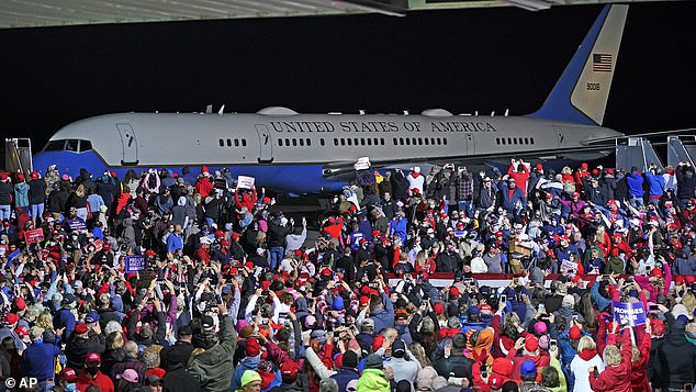 The crowds are seen packed in as they greeted Trump on his arrival into Pennsylvania Tuesday night forhis second campaign rally since his four-day stint in hospital with the deadly virus