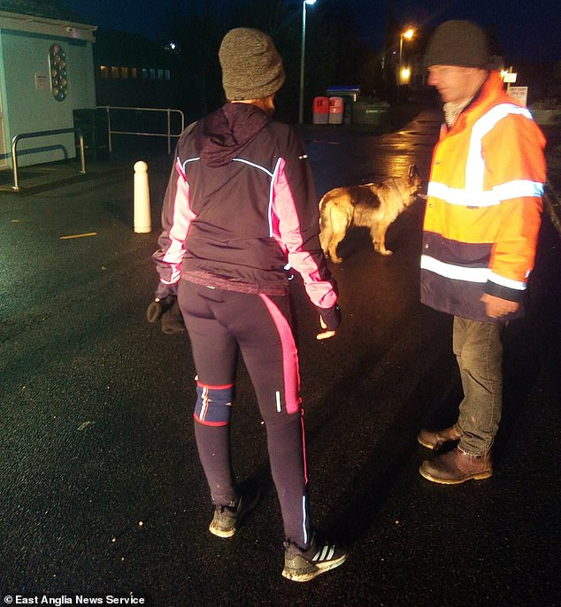 Ms Hopcroft finishes her virtual race in darkness after walking 49 miles instead of 26.2 miles because the event's official app to record her progress did not work properly on the part of the north Norfolk coast where she lives