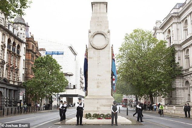 The Cenotaph was guarded by police in June earlier this year and is celebrating 100 years