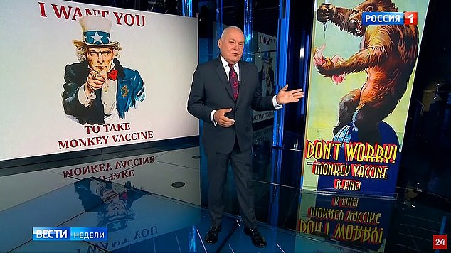 America's Uncle Sam appears in another crude image with the message: 'I want you – to take the monkey vaccine'