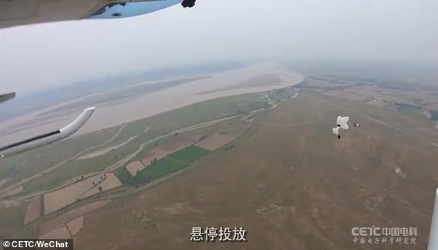 The drones can also be dropped from a higher altitude by helicopters, as the footage shows