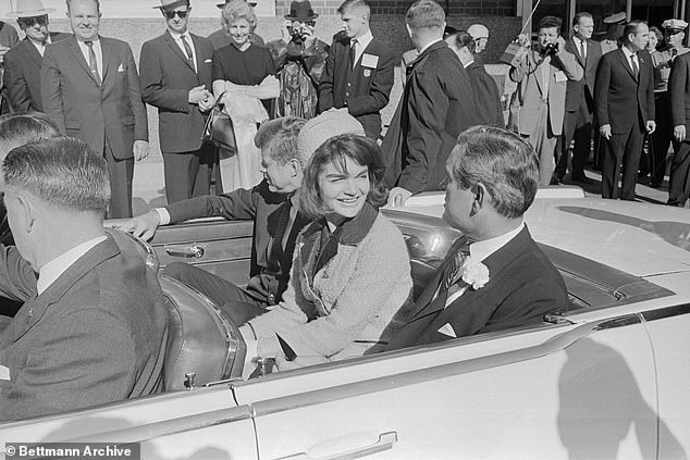 JFK, First Lady Jackie Kennedy andTexas Governor John Connally in the last car to transport the president safely in Fort Worth, Texas, on the morning of November 22, 1963