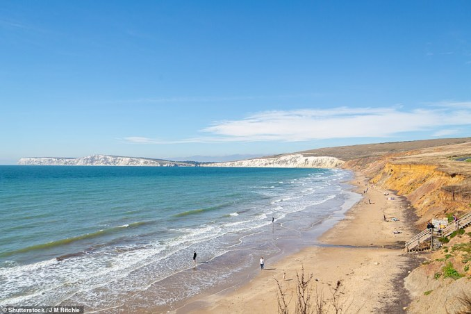 Compton Bay on the Isle of Wight, pictured, where bones ofiguanodons are regularly collected