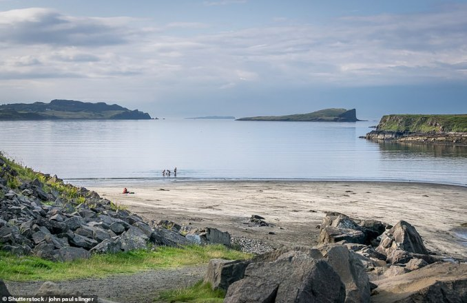 An Corran Beach on the Isle of Skye, pictured, has the footprints of ornithopods — giant two-legged herbivores from 165 million years ago