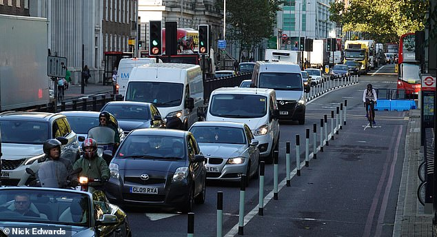 Our research shows that on the Euston Road (pictured), just 7 cyclists used the designated lane over a 15-minute period in September, while 420 cars fought their way through traffic