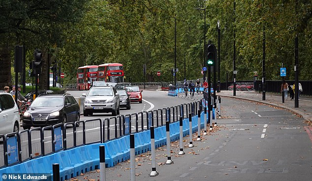 Last month, pictures taken around the country showed cycle lanes lying empty or nearly empty while traffic squeezed past on narrowed streets. Pictured: A near-empty cycle lane on Park Lane in central London