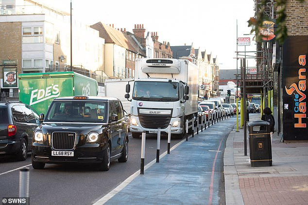 A pop-up cycle lane on Tooting High Street was also seen empty as traffic crawled past