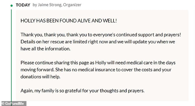Courtier's sister Jaime Strong shared an update in a GoFundMe page saying Courtier is alive and well but will need medical help