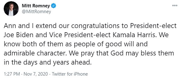 Romney was the first Republican senator to call Joe Biden the president-elect and congratulate him on his win four days after Election Day