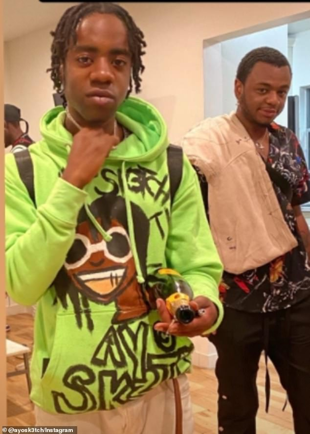 Brown Jr.'s cousin, rapper Ayo Sk3tch (pictured together), said family members in Atlanta were planning to fly in ready for a funeral and memorial service for the R&B legend's son – but added that he and the wider family did not know the circumstances surrounding Brown Jr.'s death